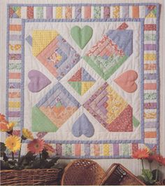 Four Corners Neighborhood Friends Quilt Pattern Using Log Cabin Block Applique by carolinagirlz2 on Etsy