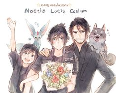 Noctis fanart. I pinned for Carbuncle and Umbra
