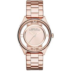 Marc By Marc Jacobs Tether Rose Goldtone Stainless Steel Bracelet... (1.910 HRK) ❤ liked on Polyvore featuring jewelry, watches, accessories, rose gold, rose watches, rose gold tone bracelet, rose bracelet, rose golden watches and golden bracelet