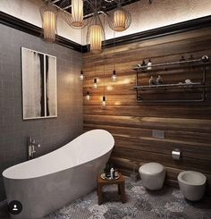 Modern Bathroom Styling with Rustic Timber Feature Wall, enhances the stunning free standing bath. Minimalist Small Bathrooms, Large Bathrooms, Bathroom Design Small, Modern Bathroom, Bathroom Ideas, Ikea Bathroom, Industrial Bathroom, Bathroom Mirrors, Bedroom Modern