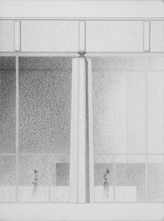 Ludwig Mies van der Rohe. Administration Building, Santiago, Cuba, Elevation of column with roof and glass wall. 1957-58. Ink, conté crayon on illustration board, 401/2 x 301/2 (102.9 x 77.5cm). via MoMA