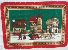 #Christmas Placemat Fabric Panel 6 Winter Devonshire Village Scene Quilt Material Destash Sewing Supplies New