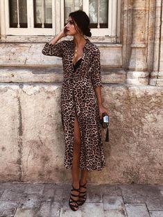 V Neck Leopard Long Dress Women Vintage Party Maxi Dresses Casual Print Summer Long Dress Vestidos Sexy Maxi Dress, Maxi Shirt Dress, Maxi Dress With Sleeves, Maxi Dresses, Sleeve Dresses, Robe T-shirt Large, Camisa Formal, Casual Party Dresses, Vestidos Sexy