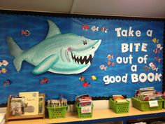 Take a Bite Out of a Good Book Bulletin Board Pinned by www.FernSmithsClassroomIdeas.com