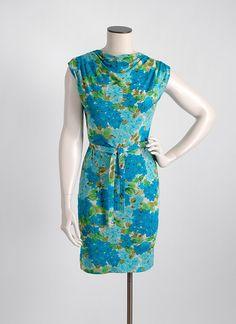 1960s Bonwit Teller blue floral Italian silk jersey dress *hemlockvintage.com