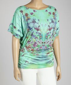 Look at this #zulilyfind! Mint Floral Ruched Cape-Sleeve Top - Plus by Poliana Plus #zulilyfinds