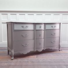 Grey/Silver French Provincial dresser by VintageRehabs on Etsy https://www.etsy.com/listing/277072256/greysilver-french-provincial-dresser