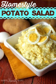 I've never tasted a potato salad that is as good as this one! We know you will just love this recipe. This is one that has been a family favorite of ours for YEARS. This is the one and only easy potato salad recipe that we use and that we will ever use... it is the BEST.