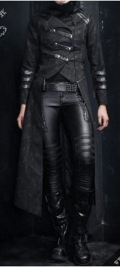 | Post-apocalyptic/Cyberpunk/Dystopian Avant-Garde Fashion |  #fashion #jacket #woman #leather #clothing #belt #pants #boots