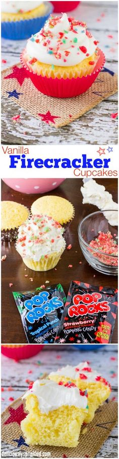 Vanilla Cupcakes with Vanilla Buttercream Frosting and topped with Pop Rocks, perfect 4th of July dessert recipe!