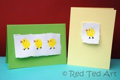 13 Simple Easter crafts: Thumbprint Easter Chicks Card!