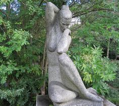 """""""Nu Feminino"""" (1960) by António Duarte (1912-1998) in the gardens of the Gulbenkian Foundation in Lisbon.   A prolific sculptor much favoured by the Salazar regime, Duarte created numerous monuments to historical and religious figures, spread all over Portugal and in the colonies. He also taught at the Lisbon School of Fine Arts for some 25 years. In his heyday in the 1940's and 1950's, he was awarded many  prizes by the cultural organizations of the regime and represented P..."""