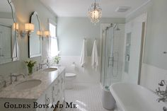 House of Turquoise: Golden Boys and Me Sherwin Williams Sea Salt! Love it paired with all the white and carrera marble