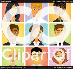 Clipart Happy Diverse Business People Avatars - Royalty Free Vector Illustration by Amanda Kate