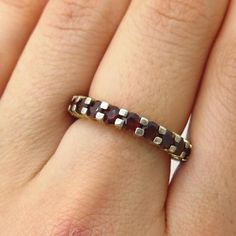 Signed 925 Silver Red Garnet Gem All Around Eternity Stackable Band Ring Size 6  | eBay
