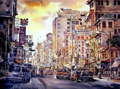 Spectacular Watercolor Paintings by Thanakorn Chaijinda ~ Cool Stuff Directory Acrylic Paint Set, Acrylic Canvas, Art Watercolor, Watercolor Landscape, Chiang Mai, Paint By Number Kits, Contemporary Paintings, Easy Drawings, Painting Inspiration