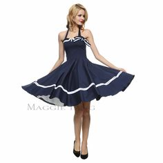Maggie Tang 50s 60s VTG Pinup Nautical Sailor Rockabilly Swing Party Dress  K-515 d09888e911