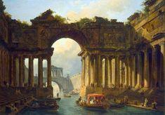 ユベール・ロベール (Hubert Robert)「Architectural Landscape with a Canal」エルミタージュ美術館