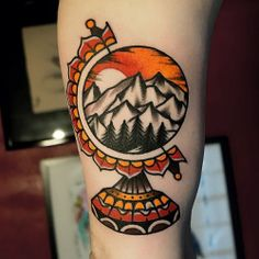 tattoos mountain globe traditional tattoo Mors