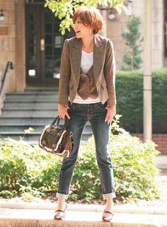 vest & matching blazer... a woman after my own heart.