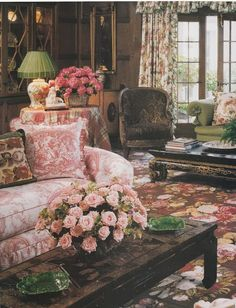 Living Room Design - really love the muted pink and green, toile, chintz, flowered rug.....click through for other pink and green looks.