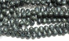Czech Pressed Glass Teardrop Beads 6x4mm Opaque Matte Jet Picasso (50)