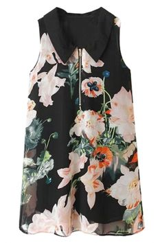 Vintage Floral Black Mini Shift Chiffon Dress