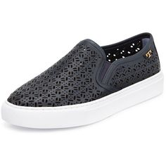 Tory Burch Lennon Laser-Cut Slip-On Sneaker (710 PEN) ❤ liked on Polyvore featuring shoes, sneakers, tory navy, tory burch sneakers, leather sneakers, pull on sneakers, leather shoes and navy sneakers