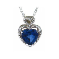 Diamond Heart Shaped Sapphire Birthstone Sterling by gemologica