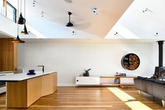 A turn-of-the-century weatherboard cottage along Melbourne's Merri Creek has been transformed by Zen Architects into a light-filled space for a family to come together. Living Room Windows, Living Spaces, Kitchen Living, Zen, Home And Family, Cottage, Interior Design, House Architecture, Furniture