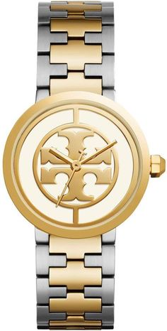 Tory Burch REVA WATCH, TWO-TONE ROSE GOLD STAINLESS STEEL IVORY, 36 MM 1cc3f1a872aa