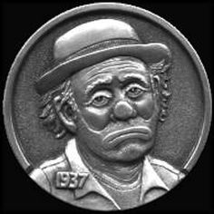 """""""Sad Clown"""" Hobo Nickel carved by Steve Adams - photo from hobonickels Steve Adams, Hobo Nickel, Coin Art, Clowning Around, Friends With Benefits, Photo Online, Making Out, Buffalo, Coins"""