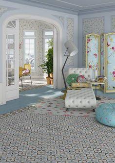 Producto: porcelanico VODEVIL, acabado: hidraulico, escenario: salón | VIVES Azulejos y Gres S.A.