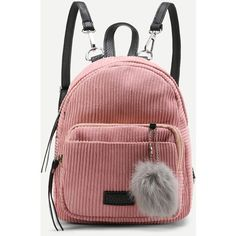 SheIn(sheinside) Pom Pom Decorated Corduroy Backpack (€11) ❤ liked on Polyvore featuring bags, backpacks, pink, decorating bags, pink bag, corduroy backpack, pom pom bag and red backpack