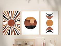 Mid Century Modern Art, Mid Century Art, Geometric Art, Geometric Painting, Diy Canvas Art, Modern Wall Art, Modern Prints, Home Art, Illustration