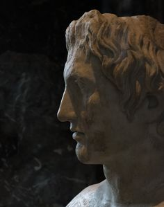 "Anastole, ἀναστολή or ""brushed-up hair from the forehead"" is a term given to Alexander the great's #hairstyle typically seen in many of his #portraits     Alexander the Great marble Herm [detail]-Roman copy after a 330 BC bronze sculpture by Lysippos - Musee #louvre"