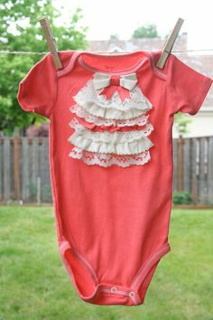 Ruffled Lace Collar Baby Girl Onesie. Could also be cute on a t shirt by lea