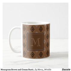 Monogram Brown and Cream Rustic Country Pattern #monogram #coffeemug #customizable #rustic