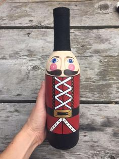 Nutcracker- Nutcracker Wine Bottle- Hand painted- Wine bottle decor- Christmas gift- holiday gift- housewarming gift