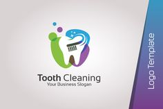 Dental Logo Template - Tooth Cleaning Dental logo template with the concept of teeth and toothbrush, can be used for dentists, dental clinic and dental care. Teeth Health, Oral Health, Dental Health, Family Dental Care, Tooth Extraction Healing, Dentist Logo, Teeth Logo, Teeth Pictures, Business Slogans