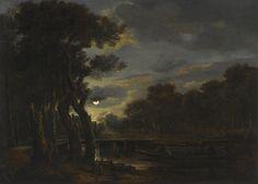 A Wooded River Landscape by Moonlight, Aert van der Neer