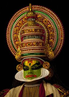 Mysterious Kathakali Dancer With Traditional Face Make Up, Kochi, India by Eric Lafforgue, via Flickr