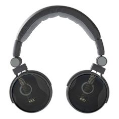 Black Acoustic Guitar Music Headphones. A black wood acoustic guitar against a black background.  A great gift for your favorite guitar player, musician or music lover.   #music #guitar #headphones