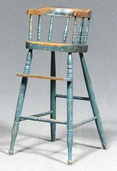 Antique High Chairs, Old Wooden Chairs, Old Chairs, Painted Chairs, Eames Chairs, Painted Furniture, Painted Tables, Colonial Furniture, Primitive Furniture