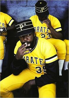 Smoking in the dugout, 1980 ~ Dave Parker and Grant Jackson.  Looks like a doobie, too.