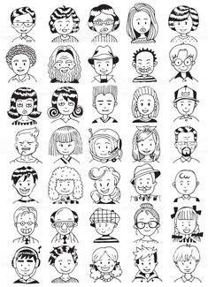 Collection of Various Men and Women Faces. Hand Drawn Line Art Cartoon Vector illustration. Black and White illustration. Drawing Cartoon Faces, Female Face Drawing, Face Illustration, People Illustration, Doodle Drawings, Easy Drawings, Doodle People, Black And White Cartoon, Arte Sketchbook