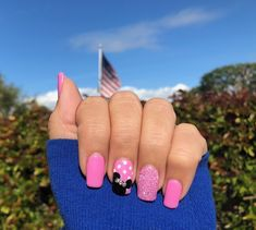 : Disney Pink Minnie Mouse with dots and Swarovski crystals gel nails : Disney Pink Minnie Mouse with dots and Swarovski crystals gel nails Cotton Candy Rainbow Nails Press on Nails Stiletto Minnie Mouse Nails, Mickey Mouse Nails, Pink Minnie, Cruise Nails, Vacation Nails, Disney Nail Designs, Pink Nail Designs, Disney World Nails, Disney Acrylic Nails