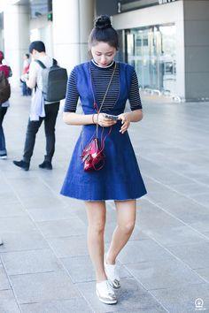 AOA Seolhyun (top knot, striped shirt , denim dress)