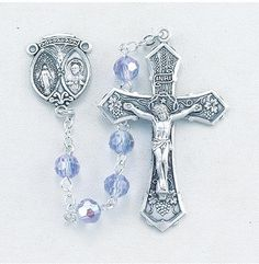 """6mm Tin Cut Alexandrite Crystal Beads. Sterling Silver Scapular/Miraculous Center and 2"""" Sterling Silver Crucifix with Rhodium Plated Findings. Deluxe Velour Gi"""