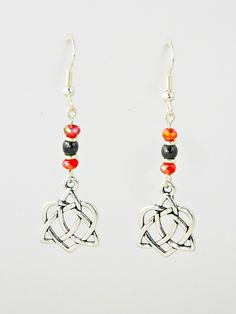 Antique Silver Celtic Charms with Red Crystals & Hematite